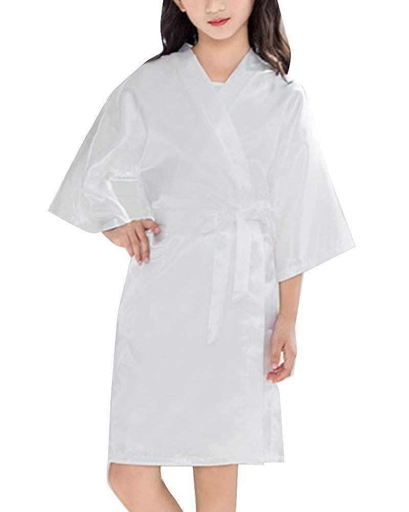 Ragazza Vestaglia Scollo a V Pigiama Kimono Accappatoi Camicia da Notte in Raso con Cintura per Casa Hotel Nozze
