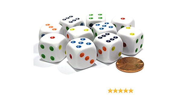 Farkle Party Game Replacement White Six Sided Dice Rounded Corners Set Of 6 16mm