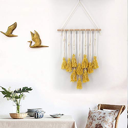 Hot Sale!DEESEE(TM)Wall Hanging Handwoven Bohemian Cotton Rope Boho Tapestry Home Decor (Yellow)