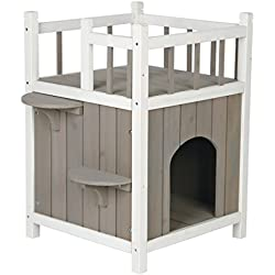Trixie Pet Products Wooden Pet Home with Balcony, Gray/White