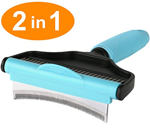 Jiefeike Dog Brushes Shedding, Pet Grooming Deshedding Brush 2 in 1 Comb Effectively Up To 95% U-Shaped Removing Hair Professional Tool Undercoat Rake Small Large Dog Short Long Hair Cat