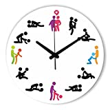 Moonluna Cool Sex Position Wood Wall Clock Ticking Silent Shabby Chic Home Office Cafe Decoration Watch Clock 14 inch
