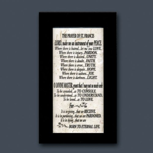 Holy Land Stone Company Prayer St. Francis Black Framed (Black Framed Plaque)