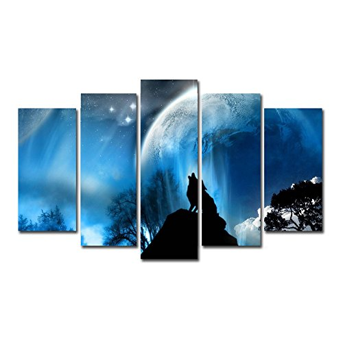 Horgan Art 5 Piece Canvas Print Wall Art Wolf Decor, Magic Wolf Howling Blue Moon Picture Animal Painting Home Decorations (No Frame) ()