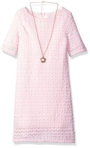 Rare Editions Girls' Little Chevron Lace Casual Dress, Pink/Ivory 3T ()