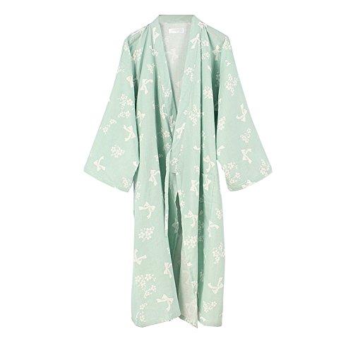 女性の着物ローブ浴衣バスローブパジャマ緑色の蝶