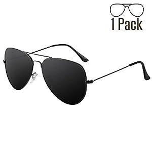 Livhò G Sunglasses for Men Women Aviator Polarized Metal Mirror UV 400 Lens Protection (Black Grey)