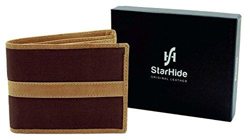 StarHide® Männer Herren Brieftaschen Weiche Echte Rindsleder & Leinwand Premium Qualität Geldbörse #1214