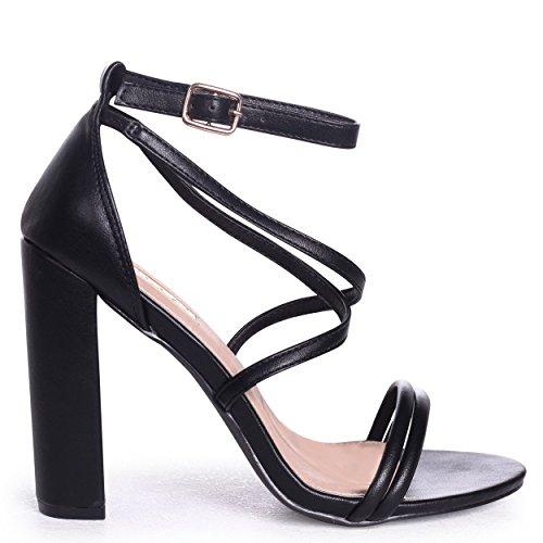 Taryn - Black Nappa Multi-wear Lace up Block Heel Blackpu IhhJz8