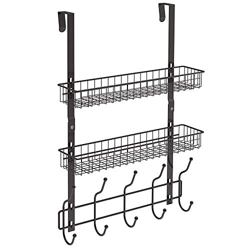NEX Over The Door Hook Shelf Organizer 5 Hooks with 2 Baskets Storage Rack for Coats & Towels (The Over Shelf Door)