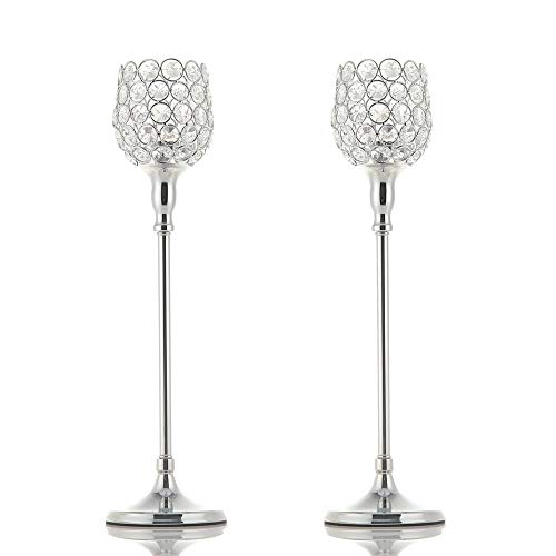 VINCIGANT Silver Crystal Candle Holders/Pillar Candlestick Set for Mother's Day Dinner Table Decor,Gift Boxed