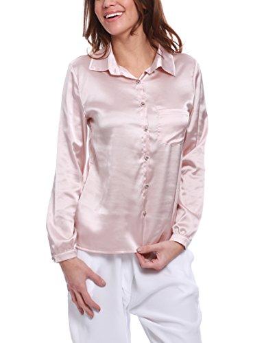 Lunga Taschino Roma Bottoncini Chiusura Chemisier Isabella Con Camicia E Manica Rose Femme gAwqf