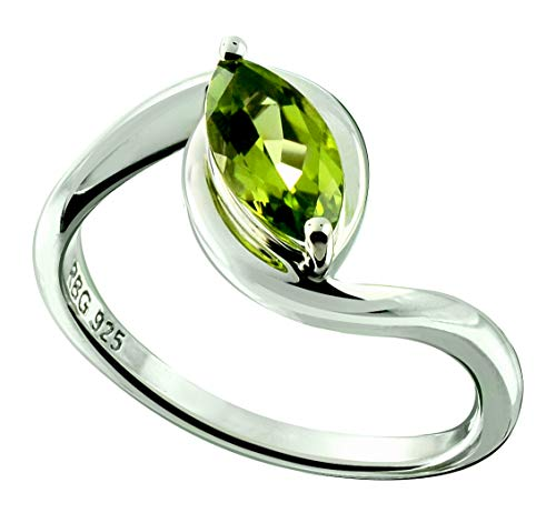 RB Gems Sterling Silver 925 Ring Genuine GEMS Marquise 10x5 mm, 1.20 Cts Rhodium-Plated Finish (6, Peridot)