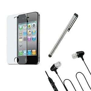 Cerhinu Silver Stylus Pen Anti-Glare Screen Protector Black Earphone w/mic for Iphone 4S
