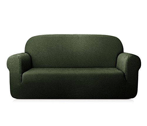 TOYABR 1-PieceSeersucker JacquardStretchyFabricDinning Room SofaSlipcoversFittedSofaProtector (Sofa, Army Green) (Sofa Denim Sectional)