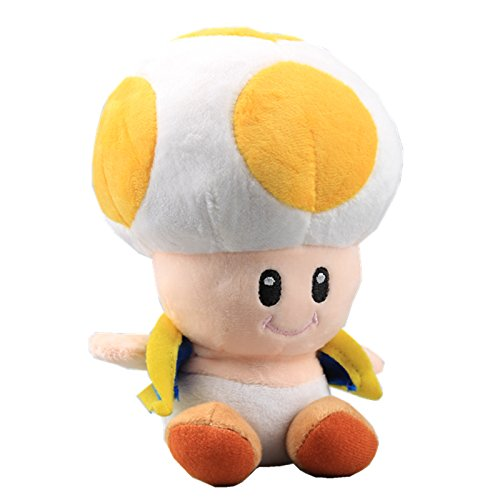 uiuoutoy Super Mario Bros. Yellow Toad Plush Mushroom -