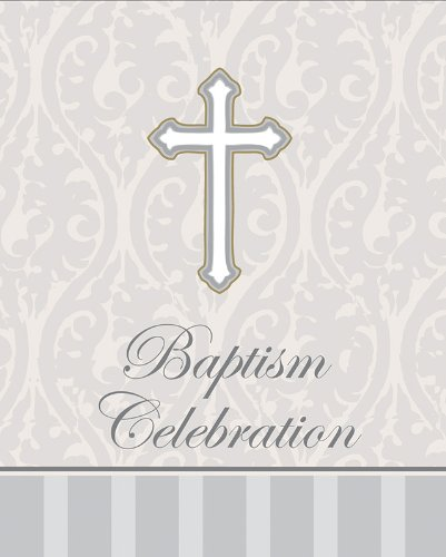 8-Count Baptism Celebration Invitations, Silver Devotion Cross