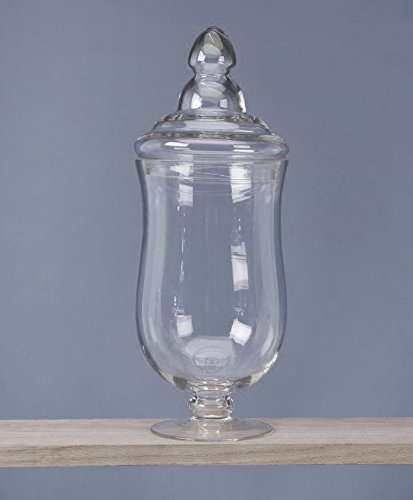 Homeford Clear Glass Apothecary Candy Jar, 16-Inch, Curvature ()