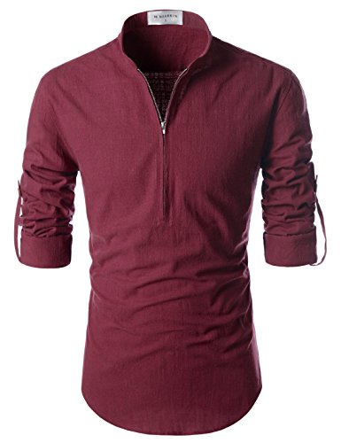NEARKIN (NKNKN352 Beloved Mens Chinese Zipup Collar Linen Roll Up Shirts Wine US XXXL(Tag Size 3XL) ()