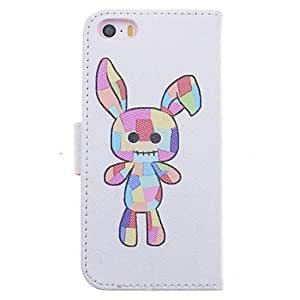 TLB Cartoon Rabbit Pattern Leather Full Body Case with Stand and Card Slot for iPhone 5/5S