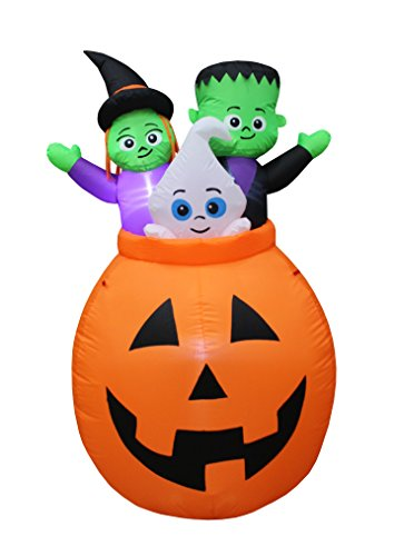 5 Foot Tall Lighted Halloween Inflatable Pumpkin Basket with Baby Ghost, Witch and Frankenstein Monster Trio Party Decoration for Outdoor Indoor Home Garden Yard by BZB Goods