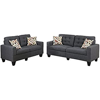 Poundex F6901 Bobkona Windsor Linen Like Poly Fabric 2 Piece Sofa And  Loveseat Set,