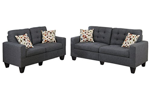 (Poundex PDEX-F6901 Sectional Set, Blue Grey)