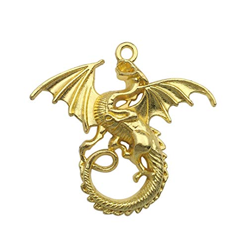 (Youdiyla 10 PCS Dragon Pendants, Gold, Fly Fire Dragon with Wings Metal Charms for Jewelry Making DIY Findings (C7692))