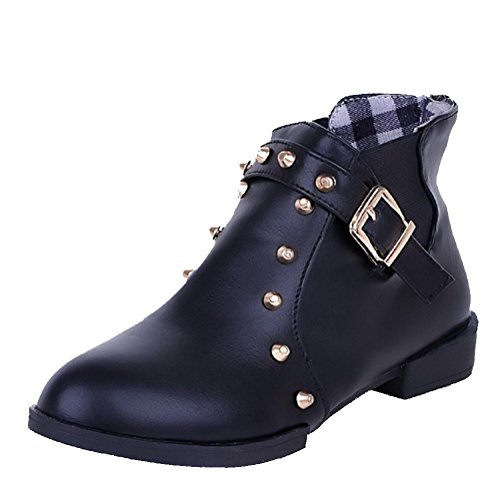 Boots Closed Heels Material Women's top Solid Toe Round Black Low Allhqfashion Soft Low qI1wvxP