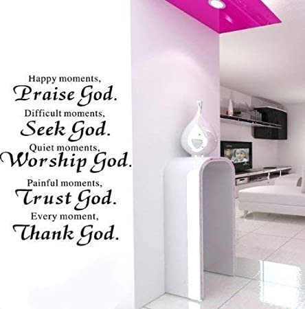 DIY Happy Moment Removable Home Praise God Quote Wall Sticker Home Room Decal