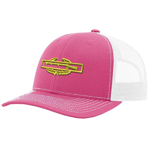 a47c1d7bf Richardson Trucker Hat Combat Infantry Badge Embroidery Unit Polyester  Baseball Mesh Cap Snaps - Hot Pink/White, Design Only