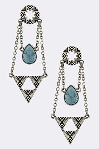 Trifari Triangle Earrings (KARMAS CANVAS TRIANGLE DANGLE EARRINGS (Antique Silver))