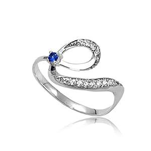 AllThingsGold   oro 14 quilates (585)  oro blanco 14 quilates (585) redondo   azul zafiro diamante