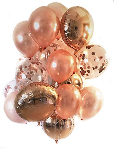 (Pristine Parties Best Rose Gold Confetti Balloons for Party | 18 Pack Premium 100% Latex Balloons | 4 Mylar, 6 Clear Confetti, 8 Shiny)