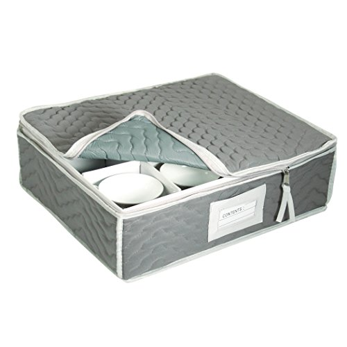 China Cup Storage Chest - Deluxe Quilted Microfiber (Light Gray) (13