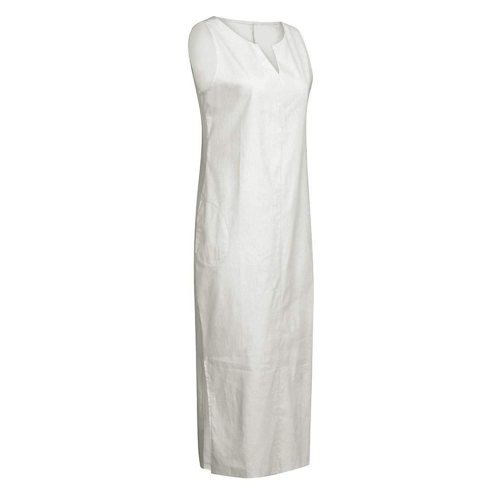 SPTO Dress for Womens Solid Color V-Neck Side Split Pocket Cotton Linen Casual Long Maxi Dress