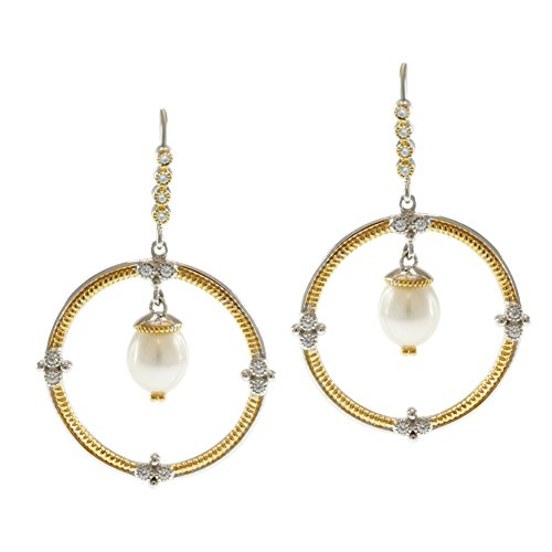 Michael Valitutti Two-Tone Freshwater Pearl and Cubic Zirconia Earrings