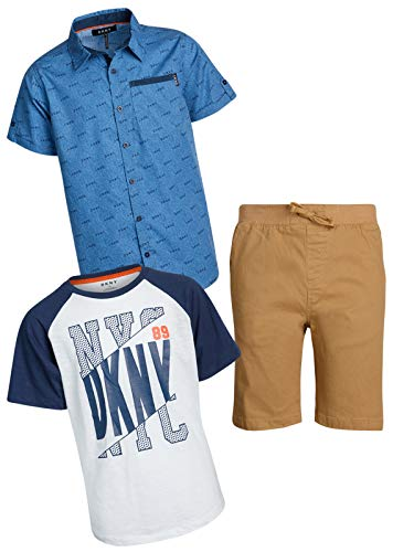 DKNY Boys' 3-Piece T-Shirt, Woven Button Down, and Shorts Set, Kelp, Size 4' ()