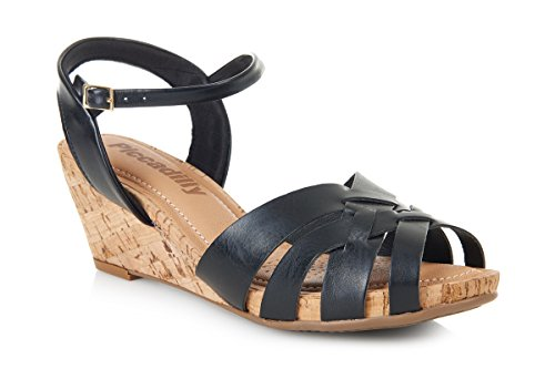 Piccadilly 408104 Comfortabe Padded Wedge Sandal Black 8oZmQ