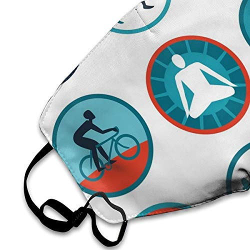 Mouth mask Adjustable Earloop Face Mask for Men and Women,Graphic Circular Icons With Jogging Swimming Meditation Sports Themed Signs