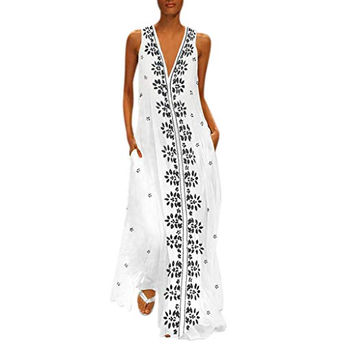 Botrong Long Maxi Dresses for Women Casual Sleeveless V-Neck Floral Print Dress with Pockets Black