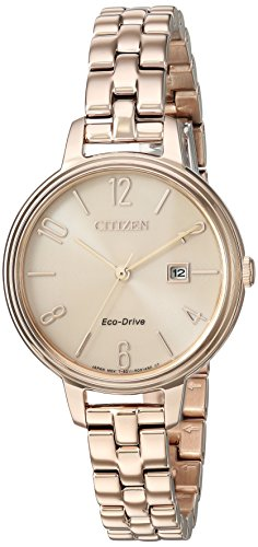 Citizen Women's 'Silhouette' Quartz Stainless Steel Casual Watch, Color:Rose Gold-Toned (Model: EW2443-55X)