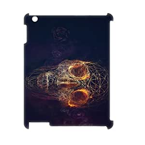 Ipad2,3,4 Fire skulls 3D Art Print Design Phone Back Case Customized Hard Shell Protection YT068794