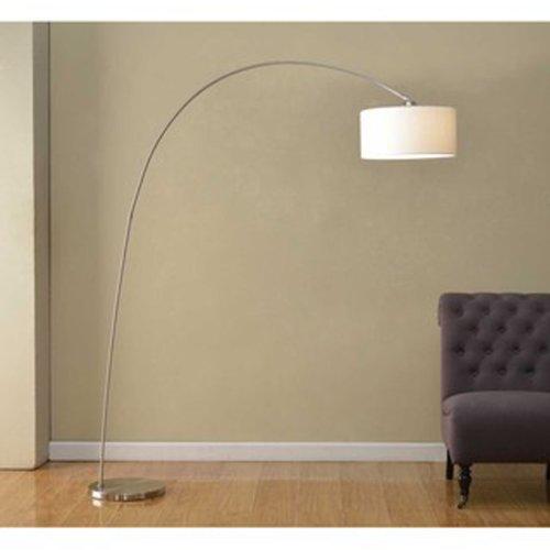 Artiva USA Adelina, European Sleek Design, Modern Art, 1-Arch 81-Inch Satin-nickel Finish Floor Arc Lamp w/ Heavy-duty Base, Adjustable Shade