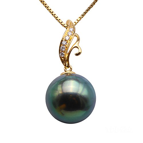 JYX 18K Gold 10.5mm Peacock Green Round Tahitian Pearl Pendant Necklace Dotted with Diamonds
