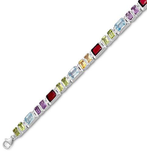 Blue Topaz/Citrine/Garnet/Peridot Sterling Silver Bracelet, 7 inch long, 1/4 inch wide Links by Silver Messages
