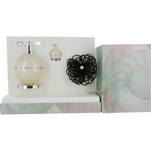- J DEL POZO IN WHITE by Jesus del Pozo Gift Set for WOMEN: EDT SPRAY 3.4 OZ & EDT .15 OZ MINI & BROOCH
