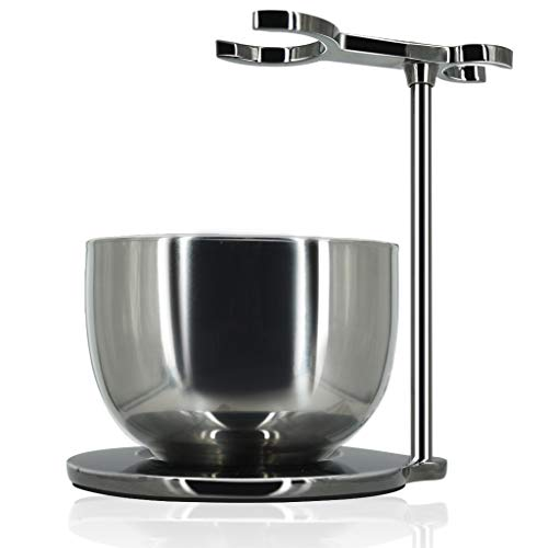 GRUTTI Shaving Stand with Soap Bowl Set, Deluxe Chrome Razor and Brush Stand with Bowl Compatible with Manual Razor, Safety Razor, Gillette Fusion Razor-Retro gray