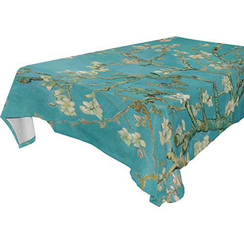 WIHVE Rectangle Tablecloth Van Gogh Branches of Almond Tree in Blossom Solid Polyester Fabric Tablecloth for Kitchen Dinning Wedding Holiday Party Decorations 54x72 Inch ()