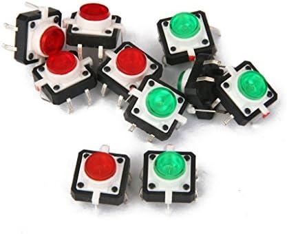 shamjina 10個のミニ触覚プッシュボタンスイッチ瞬間的なLED 4ピンDIP緑赤